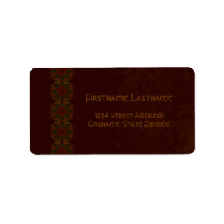 Business Vintage Fractal Polygons Brown v2 Label