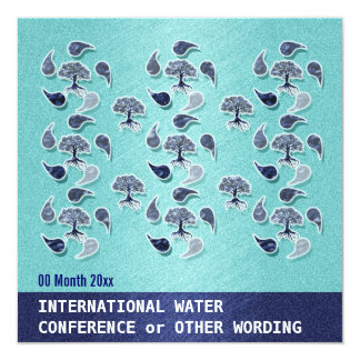 Business water environment energy conference 5.25x5.25 square paper invitation card
