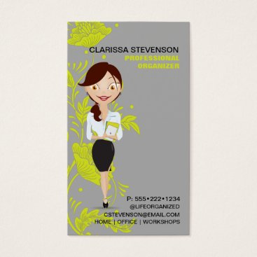 Professional Business Business Woman Character Logo Lime Green Floral Business Card