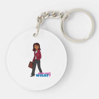Business Woman - Dark Double-Sided Round Acrylic Keychain