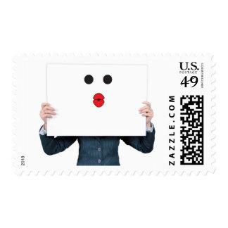 Business Woman Kiss Emoticon Romance Stamp
