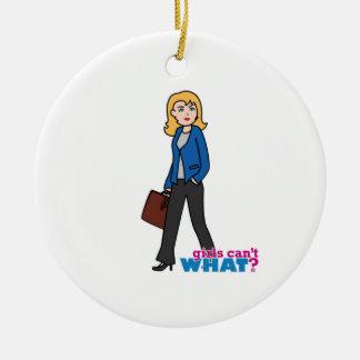 Business Woman - Light/Blonde Ceramic Ornament