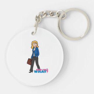 Business Woman - Light/Blonde Double-Sided Round Acrylic Keychain