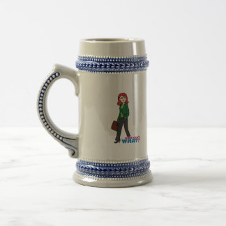 Business Woman Light/Red Beer Stein