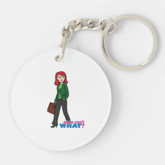 Business Woman Light/Red Double-Sided Round Acrylic Keychain