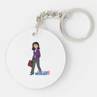 Business Woman - Medium Double-Sided Round Acrylic Keychain