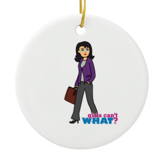 Business Woman - Medium Double-Sided Ceramic Round Christmas Ornament