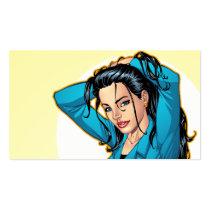 business woman,dress jacket,short skirt,al rio,art,drawing,illustration,comic,cartoon, Business Card with custom graphic design
