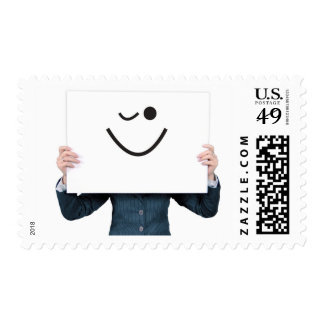 Business Woman Smiley Emoticon Wink Stamp