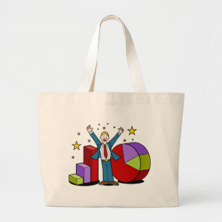 Businessman and Business Charts Large Tote Bag