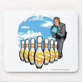 Businessman bowling a globe towards money pins mouse pad