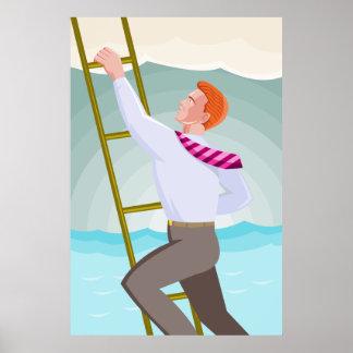 businessman climbing ladder retro poster