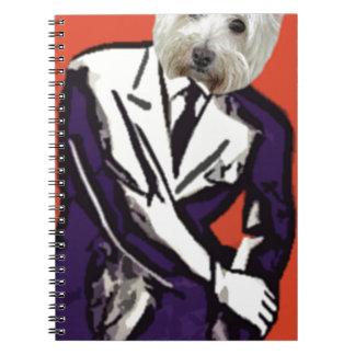 businessman dog notebook