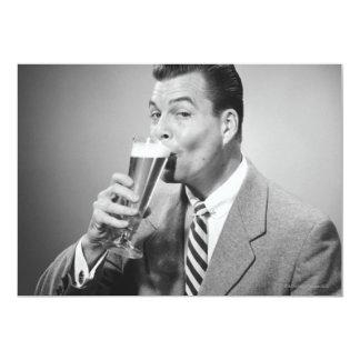 Businessman Drinking Beer Card