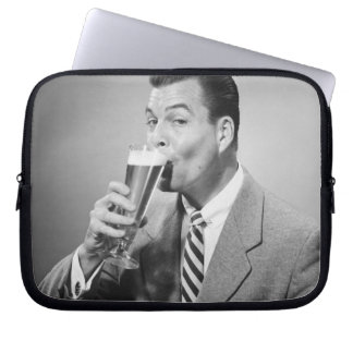Businessman Drinking Beer Computer Sleeve