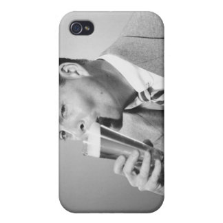 Businessman Drinking Beer Covers For iPhone 4