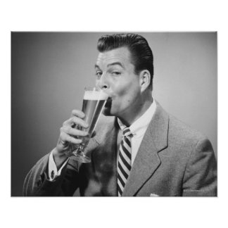 Businessman Drinking Beer Poster