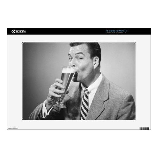 "Businessman Drinking Beer Skin For 15"" Laptop"