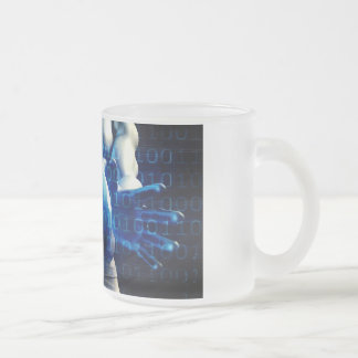 Businessman Executive Holding Globe Frosted Glass Coffee Mug