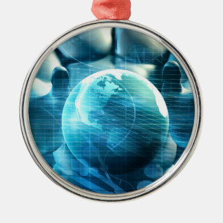 Businessman Executive Holding Globe Metal Ornament