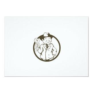 Businessman Fedora Hat Bank Notes Circle Cartoon Card