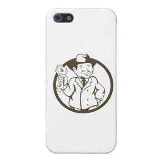 Businessman Fedora Hat Bank Notes Circle Cartoon iPhone SE/5/5s Cover