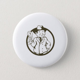 Businessman Fedora Hat Bank Notes Circle Cartoon Pinback Button