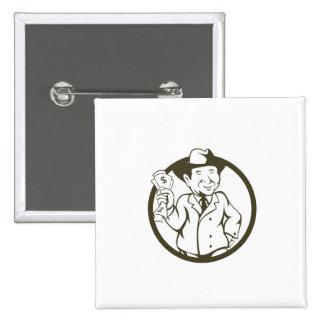 Businessman Fedora Hat Bank Notes Circle Cartoon Pinback Button