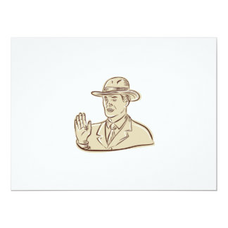 Businessman Fedora Hat Vintage Etching 6.5x8.75 Paper Invitation Card
