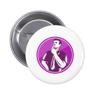Businessman Holding Chin Woodcut Pin