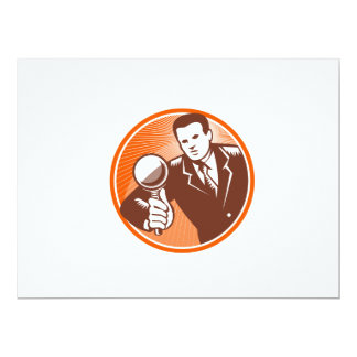 Businessman Holding Looking Magnifying Glass Woodc 17 Cm X 22 Cm Invitation Card