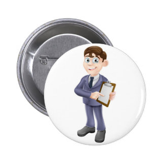 Businessman holding survey or clipboard button