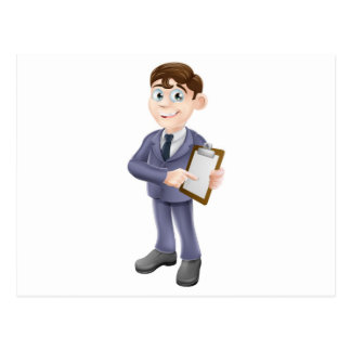 Businessman holding survey or clipboard postcards