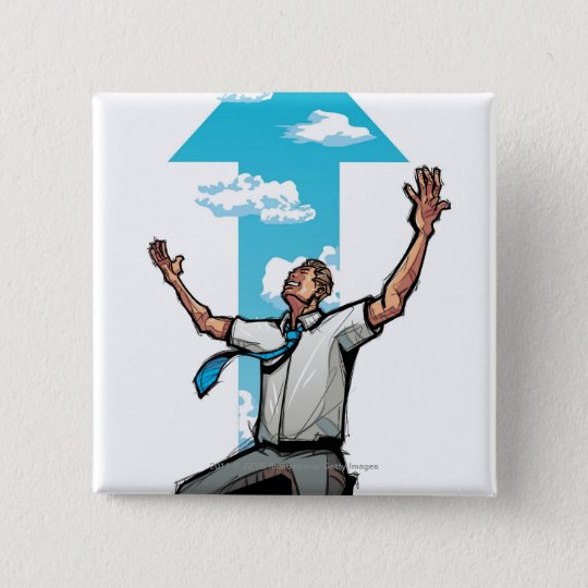 Businessman kneeling, arrow sign in the background pinback button