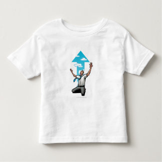 Businessman kneeling, arrow sign in the background t-shirt