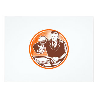 Businessman Magnifying Glass Looking Documents 17 Cm X 22 Cm Invitation Card
