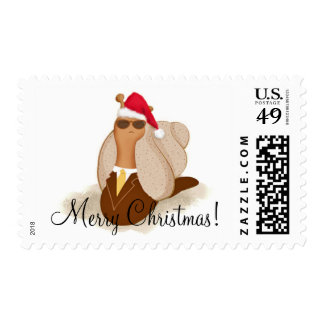 Businessman Mr. Cool Snail says Merry Christmas! Postage