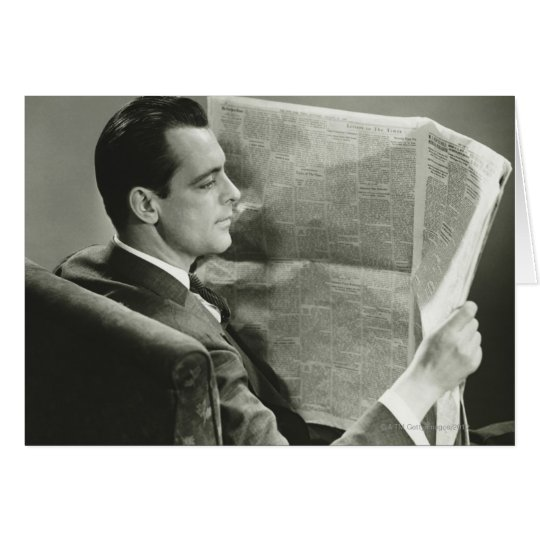 Businessman Reading the Newspaper Card