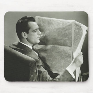 Businessman Reading the Newspaper Mouse Pad