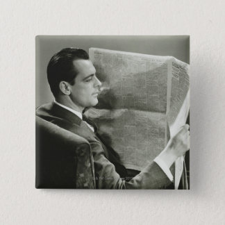 Businessman Reading the Newspaper Pinback Button