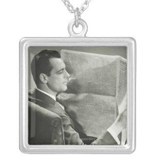 Businessman Reading the Newspaper Square Pendant Necklace