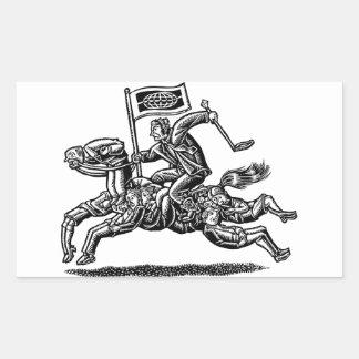 Businessman Rides Horse of Workers Rectangular Sticker