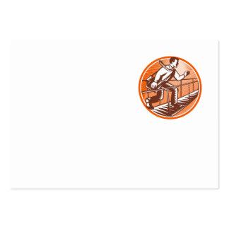 Businessman Satchel Bag Running Bridge Business Cards