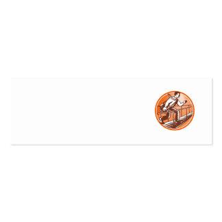 Businessman Satchel Bag Running Bridge Business Card Templates