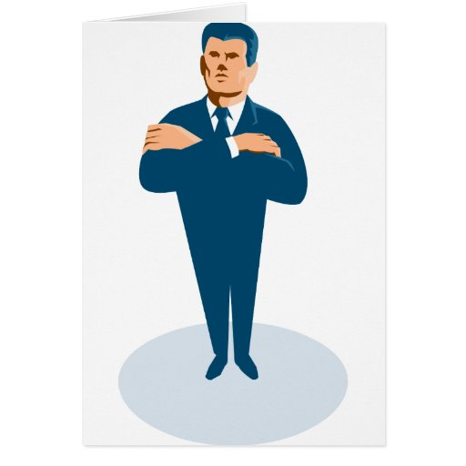 businessman secret agent arms crossed cards