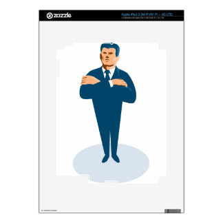 businessman secret agent arms crossed iPad 3 decal