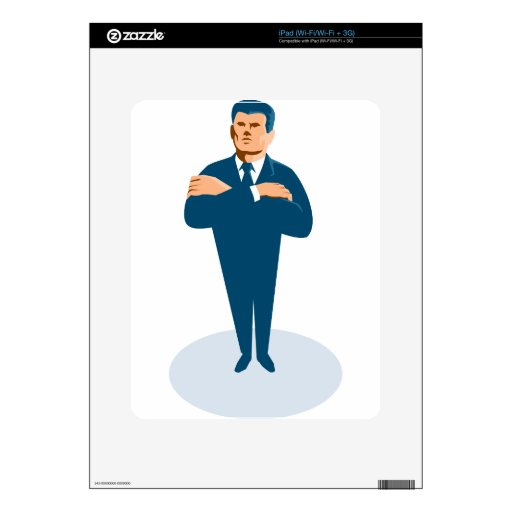 businessman secret agent arms crossed decals for the iPad