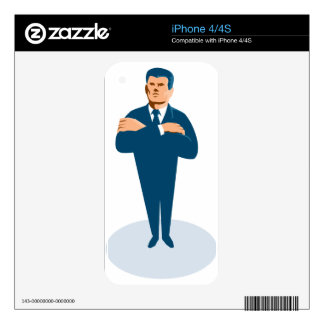 businessman secret agent arms crossed skins for iPhone 4S