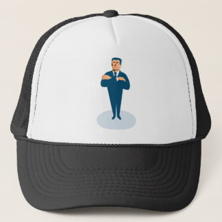 businessman secret agent arms crossed trucker hat