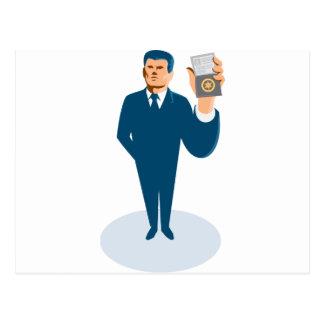 businessman secret agent showing id card badge wal